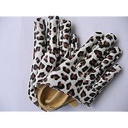 kingken 1par boda Show fiesta piel sintética cinco dedo medio guantes de palma para las mujeres, piel sintética, leopardo, 16*8.5cm
