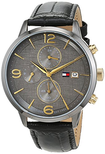 Tommy Hilfiger Herren Multi Zifferblatt Quarz Uhr mit Leder Armband 1710357 (Tommy Reloj Männer Hilfiger)