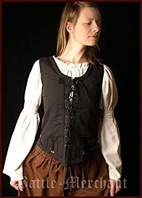 Miederweste aus Baumwolle, schwarz Gr. S-XL - Mieder, Trachten Weste