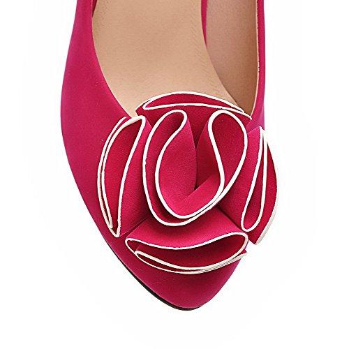 VogueZone009 Femme Couleur Unie Dépolissement à Talon Correct Tire Rond Chaussures Légeres Rouge