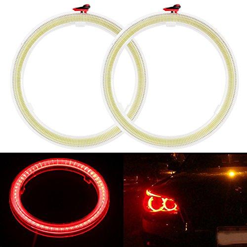 Everbrightt 1-paar rot 80MM 63SMD COB LED Angel Eyes mit SHELL Halo Ring Glühbirne Licht Nebelscheinwerfer für Auto (Halo-lichter Für Autos)