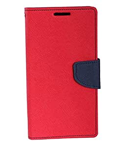 Mahi Max Flip Case Cover With Card Slots And Magnetic Closure For Samsung Galaxy J1 ACE -(RED,BLACK)