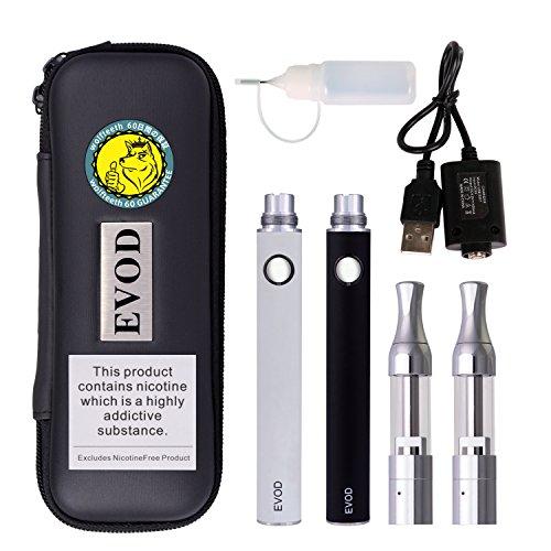 Wolfteeth Doppel Starter kit E Zigarette Evod 1100mAh Batterie Mit Mini Protank | Wiederaufladbar und Nachfüllbar Elektronische Zigarette Verdampfer Reise Set | Nikotinfrei 1158 (Schwarz & Weiß)
