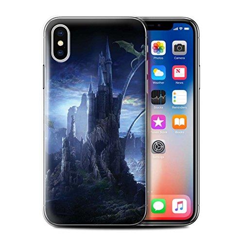 Offiziell Elena Dudina Hülle / Case für Apple iPhone X/10 / Ozean Trümmer Muster / Fantasie Landschaft Kollektion Tal der Drachen