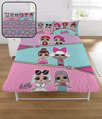LOL Surprise Bettbezug fur Doppelbett Confetti Pop Girl Bed Sheet mit Kissenbezug Reversibel Design - Design Bed Sheet