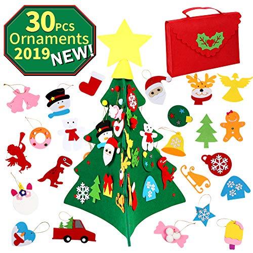 OurWarm Albero di Natale Feltro Fai da Te, 3D Albero di Natale in Feltro Grande con 30 Pezzi di Ornamenti per Bambini Regali di Natale Decorazioni Nataliz
