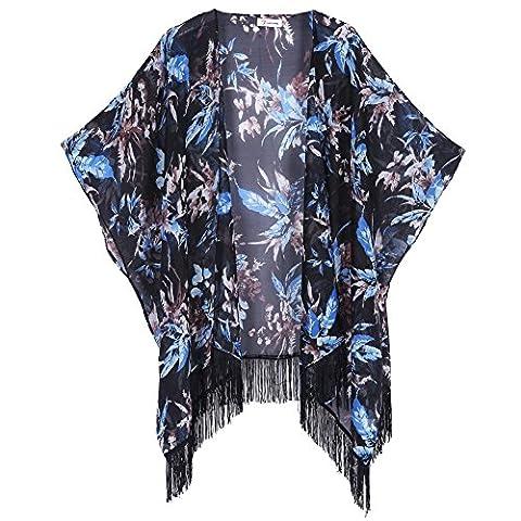 Soul Young Femmes Floral imprimé Splice Mousseline de Soie Châle Kimono Cardigan Tops Couvrez-vous