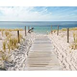 decomonkey | Fototapete Strand Meer blau 300x210 cm | VLIES TAPETE | moderne Wanddeko | Riesen Wandbild | Design | Fototapeten | Wandtapete | Landschaft Wasser Natur beige Sand | FOA0007a62XL
