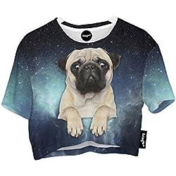 Fringoo - Camiseta - para mujer multicolor Galaxy Pug - Tee Talla única