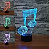 3D musique note LED Lampes Art Déco Lampe la couleur changeant lumières LED,...