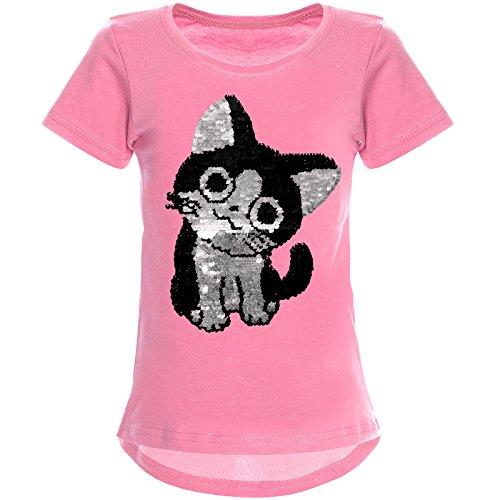 emoji shirt mit wendepailletten BEZLIT Mädchen Wende-Pailletten T-Shirt Katzen Motiv Kurzarm Bluse 22034 Dunkelrosa 152