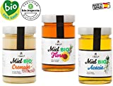 3 verschiedene BIO Honigsorten aus Spanien - beste Qualität - reines Naturprodukt - kaltgeschleudert - unfiltriert - Set mit 3 x 450 g - 1,35 kg