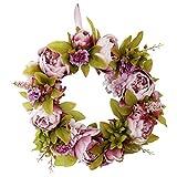 non-brand MagiDeal Couronne Rotin de Fleurs Artificielles Roses Hortensia Décoration Romantique pour Fête Mariage Fiançailles - Rose 2