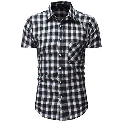 d Kurzarm mehrfabrig Kariert Hemd Karo Regular Fit Freizeithemd Rot grau Grün M L XL XXL XXXL ()