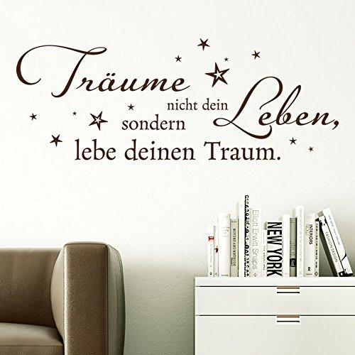 KLEBEHELD® Wandtattoo Träume nicht dein Leben, sondern lebe deinen Traum. Spruch mit Sterne für Schlafzimmer und Wohnzimmer Farbe weiss, Größe 120x46cm