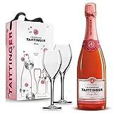Taittinger Champagner 0,75l Brut Prestige Rosé mit zwei Gläser im Geschenkkarton - Geschenkset