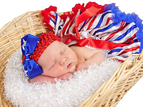 USA Flag Dress Striped Red White Blue Baby Skirt Tutu Girl Clothing 3-12m (Rot Weiß ()