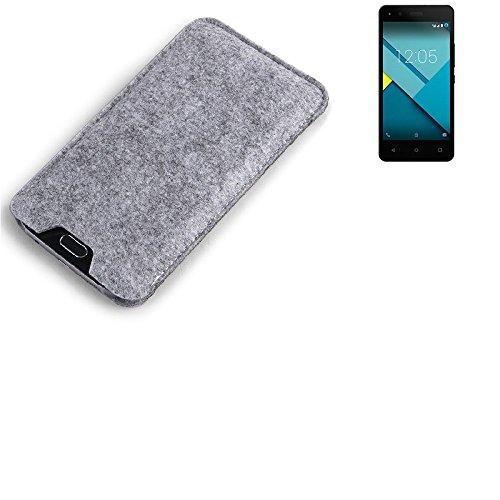 K-S-Trade Filz Schutz Hülle für BQ Readers Aquaris M4.5 Schutzhülle Filztasche Filz Tasche Case Sleeve Handyhülle Filzhülle grau