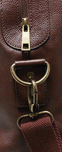 Echtleder Reisetasche Weekender Handgepäck real leather travel bag SCHWARZ / BLACK Cognac