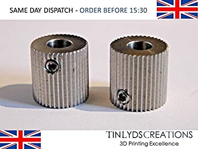 2 x mk8 extruder 40 teeth Drive Gear - feed stock Pulley 5mm 3D Printer part from tinlydscreations