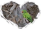 pappagallo verde a forma di cuore boschi nel formato sguardo, parete o adesivo porta 3D: 62x43.5cm, autoadesivi della parete, decalcomanie della parete, decorazione della parete