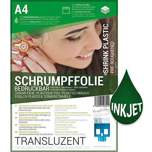 SKULLPAPER® Schrumpffolie bedruckbar transluzent transparent für individuellen Schmuck und mehr - 10 Bögen A4 für Tintenstrahldrucker -