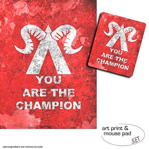 Geschenkset: 1 Poster Kunstdruck (80x60 cm) + 1 Mauspad (23x19 cm) - Gaming, You Are The Champion