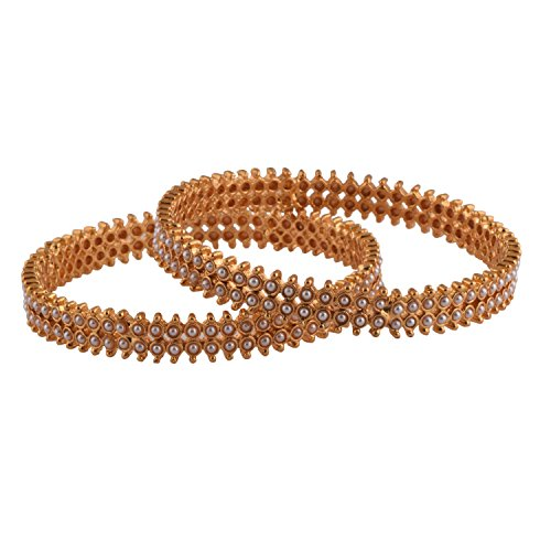 Ganapathy Gems 1 Gram Gold Plated Bangles With Pearls (8351)