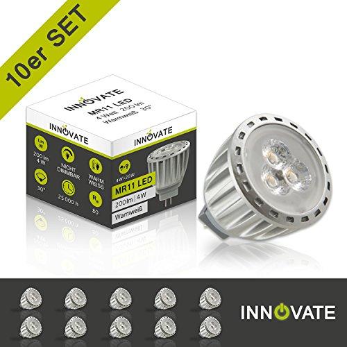 12 Volt, Mr11-g4 Sockel (INNOVATE GU4 Sockel 12V ([10er Pack / Set] G4 LED Leuchtmittel MR11 Spot Lampe Strahler / 4W - Ersatz 10-15W, 200 Lumen, 30° Abstrahlwinkel, warmweiss - 3000K))