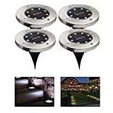 Best Landscape Lights - Kobwa 4Pcs 8 LED Solar Powered Ground Lights Review