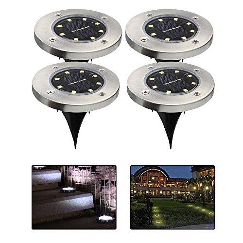 Teepao Solar Boden Lichter, 8 LED Wasserdichte Garten Beleuchtung Dark Sensing Landschaft Lichter für Hof Auffahrt Rasen Pathway, Arbeitszeit 8-10 Stunden (4 Pack)