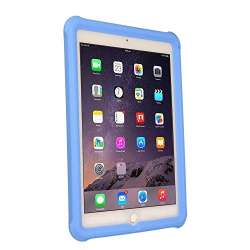 TECHGEAR Schutzhülle für iPad Air 2 (9,7 Zoll) [Kinderfreundlich] Leichtes Koffer Silikon Soft Shell Anti-Rutsch-Shockproof verstärkte Ecken + Displayschutzfolie, hülle für iPad Air 2 (9,7) -Hellblau