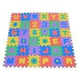 Zerodis 36pcs Tapis De Jeu Bébé Puzzle Tapis Chiffres et Lettres Tapis Puzzle en Mousse Tapis de Chambre d'enfant Jouets pour Bébé Fille Garçon 0-18 Mois