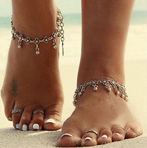 Aukmla Cadena tibetana para pie con cuentas colgantes, pulsera tobillera para la playa.