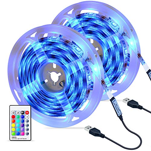 Tiras LED 6M, OMERIL Impermeable Tira LED USB con Control Remoto, 4 Modos de Brillo y 16 Colores, 5050...