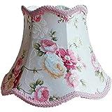 Abat jour Abat-jour de lampe de bureau en dentelle rose, motif de fleurs Textile Tissus Décoratif E27 abat-jour de table