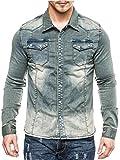 MEGASTYL Herren Jeans-Hemd-Jacke Oberteil Stone-Acid-Washed Vintage Ombre-Verlauf Dunkel-Hell-Blau Grau Slim-Fit Jogg-Denim, Größe:M