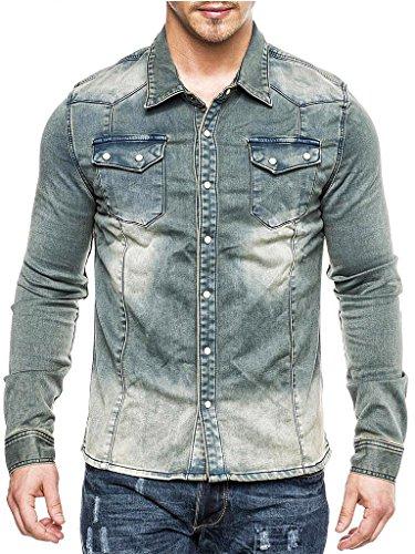 MEGASTYL Herren Jeans-Hemd-Jacke Oberteil Stone-Acid-Washed Vintage Ombre-Verlauf Dunkel-Hell-Blau Grau Slim-Fit Jogg-Denim , Größe:XL (Stonewashed Jeans Dunkle)