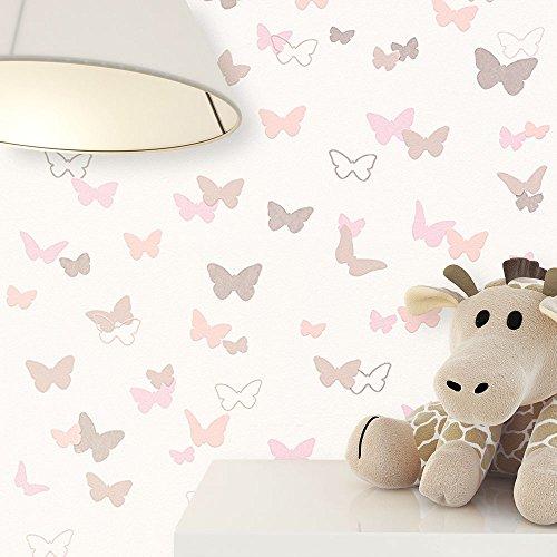 *NEWROOM Kindertapete Beige Vliestapete Rosa Braun Modern Schmetterlinge schöne moderne und edle Optik für Babys, Jungs oder Mädchen , inklusive Tapezier Ratgeber Kindertapete Beige Schmetterlinge Kinder*