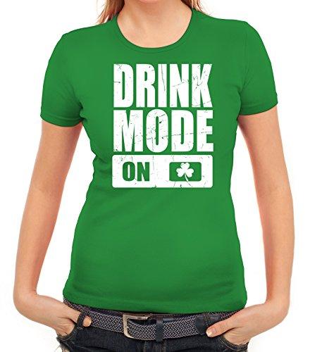 ShirtStreet Irland St. Patrick's Day Partner Gruppen Damen T-Shirt Drink Mode On Kelly Green