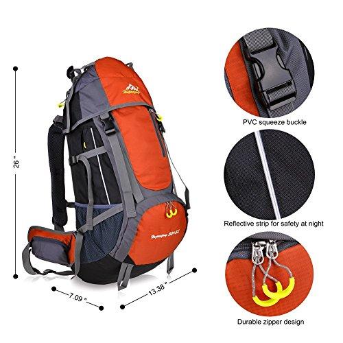 Imagen de macbag  de excursión resistente al agua daypack 40l 55l para camping, trekking y escalada naranja, 55l  alternativa