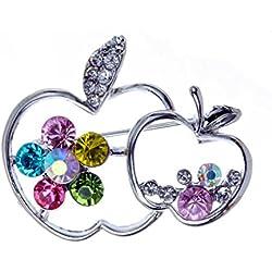 YAZILIND Bunte Kristalle Zwei äpfel Versilberten Broschen Anstecknadeln Damen Hochzeit Schmuck