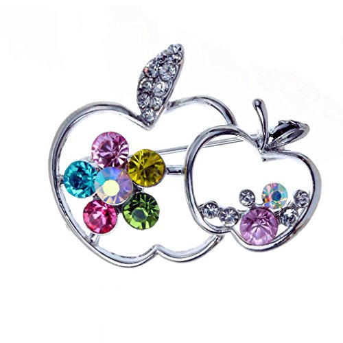 YAZILIND Elegant Colorful Rhinestone Silver Plated Double Apples Brooch Pin Womens Wedding Gift