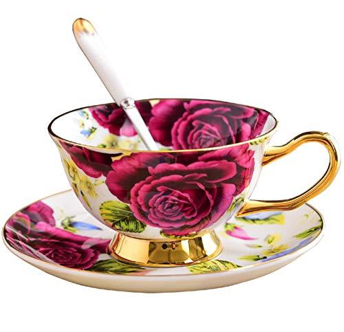 HYDWX European Bone China Cup Flower Teetasse Wassertasse Hochwertige Phnom Penh Keramik Kaffeetasse Schale - Rote Rose