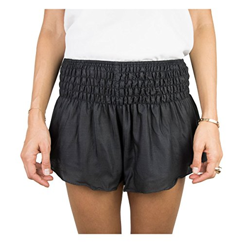 Natürliche Heilung CO. Beach Shorts für Frauen, Lässiges Sommer Shorts mit gesmokten Breite Elastische Taille in Weiche Viskose Stoff, Eine Größe Passt Alle, Schwarz - Midnight Black (Frauen Beach Für Shorts Lässige)
