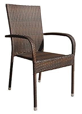 4x Hochwertiger Gartenstuhl Stapelstuhl Set Braun Bistrostuhl Balkonstuhl Poly Rattan Sessel Stapelbar Stuhl