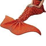 BNHT La Sirena De Cola De Sirena Manta Manta De Ganchillo Snuggle para Adultos Super Suave Todas Las Temporadas Durmiendo Mantas 180cmx80cm (Naranja)