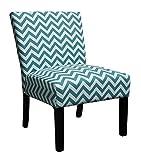Riana Chic Home Stuhl, Stoff Spring Schaumstoff Sitz, schwarz Beine, Blaugrün Grau Weiß Zig Zag Muster | Zermatt Serie Teal & White