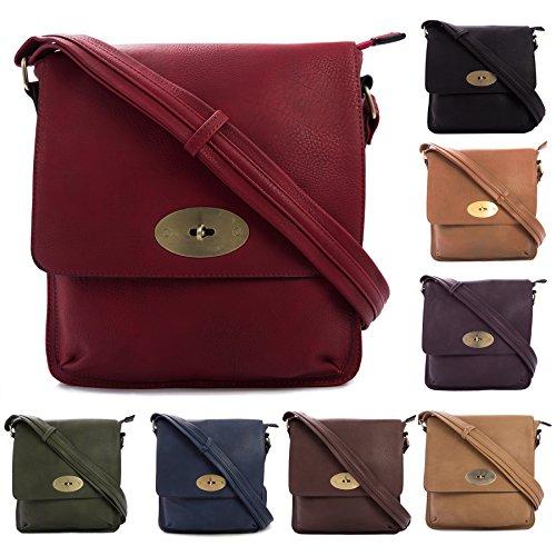 Große Handtasche/Einkaufstasche aus Kunstleder mit Drehverschluss, Umhängetasche Rose