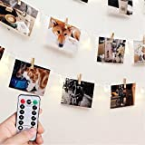Photo Clip String Lights with Remote & Timer - RECESKY 40 LED 8.5m Fairy Battery Operated Hanging Photo Frames Light for Outdoor and Indoor - Picture Frames Wall Decor - Christmas, Party, Dorm, Home, Bedroom Decorations